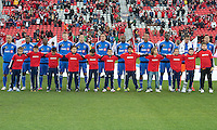 20 October 2012: The Montreal Impact during the national anthem in an MLS game between the Montreal Impact and Toronto FC at BMO Field in Toronto, Ontario..The game ended in a 0-0 draw..