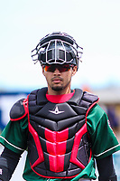 Great Lakes Loons catcher Ramon Rodriguez (13) heads to the dugout prior to a Midwest League game against the Wisconsin Timber Rattlers on May 12, 2018 at Fox Cities Stadium in Appleton, Wisconsin. Wisconsin defeated Great Lakes 3-1. (Brad Krause/Four Seam Images)