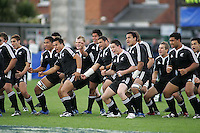 The Baby Blacks begin their Haka before their semi-final clash with Wales at Ravenhill. Result New Zealand 36 Wales 12.
