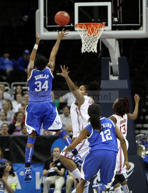 Victoria Dunlap shoots over an Oklahoma guard in the second half during the NCAA Women's Basketball Kansas City Regional Finals Tuesday, March 30, 2010, at the Sprint Center. Photo by Brandon Goodwin | Staff