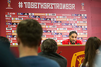 Wales captain Ashley Williams during a Wales press conference at the Cardiff City Stadium ahead of the FIFA World Cup Qualification match against Serbia, Cardiff, Wales on 11 November 2016. Photo by Mark  Hawkins.
