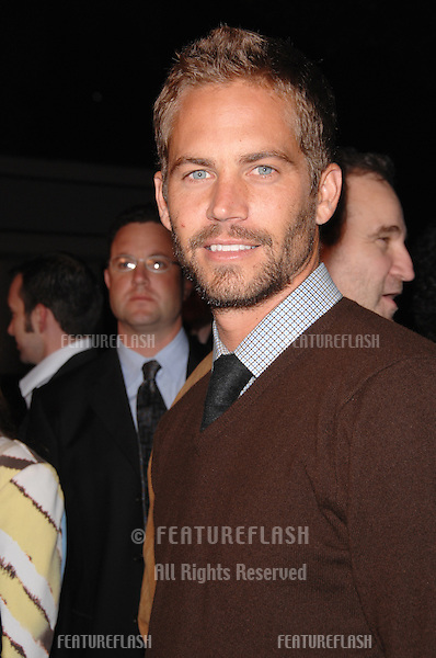 "PAUL WALKER at the Los Angeles premiere of ""Flags of our Fathers""..October 9, 2006  Los Angeles, CA.Picture: Paul Smith / Featureflash"
