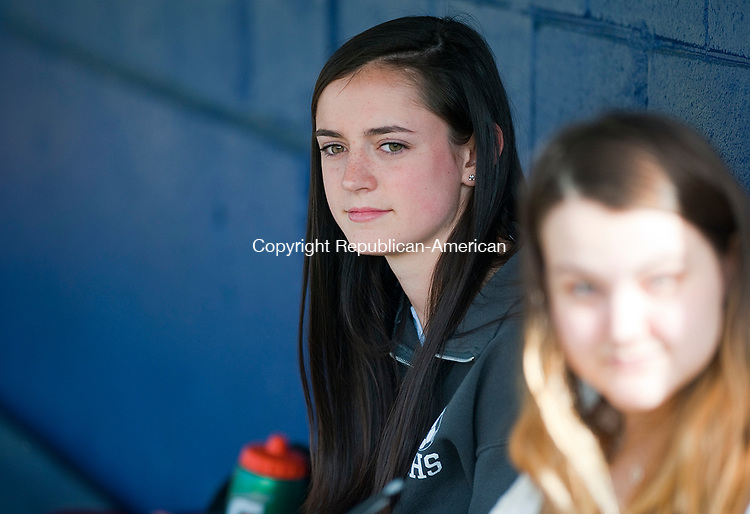WATERBURY,  CT-051217JS17- Madison McCarthy, one of Thomaston baseball score keepers, in the dugout during a recent game against Gilbert at Walker Field in Winsted. When Madison was 11, she was diagnosed with Hodgkin's Lymphoma.<br /> Jim Shannon Republican-American