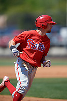Philadelphia Phillies Gunnar Buhner (12) during a Minor League Spring Training game against the Pittsburgh Pirates on March 23, 2018 at the Carpenter Complex in Clearwater, Florida.  (Mike Janes/Four Seam Images)