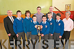 Thomas Collins Memorial Cup Winners :  Pupils from St. Michael's College, Listowel who won the Thomas Collins Memorial Cup for the most money collected for Crumlin Childrens Hospital. They raised €15.000.00 by holding various fund raising events throughout the past year. L- R : Headmaster Johnny Mulvihill, Gerard Dowling, Gerard Mulvihill, Jackie Mulvihill, James Sweeney, Vincent McVeigh, Damian Wrobel, Liam Hassett, Joe Gleeson & Julia Stack.
