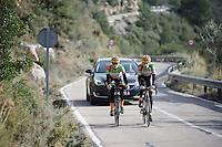 Just after he won the national championship, Wout Van Aert (BEL/Crelan-Vastgoedservice) &amp; Tim Merlier (BEL/Crelan-VastgoedService) left for a training block in Spain. As they're training up Coll de Rates (Alicante, Spain), Van Aert's national jersey wasn't even finished yet, so he trained in his regular team kit.<br /> <br /> January 2016 Training Camps