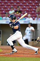 Cedar Rapids Kernels first baseman Chad Christensen (18) at bat during a game against the Quad Cities River Bandits on August 18, 2014 at Perfect Game Field at Veterans Memorial Stadium in Cedar Rapids, Iowa.  Cedar Rapids defeated Quad Cities 4-2.  (Mike Janes/Four Seam Images)