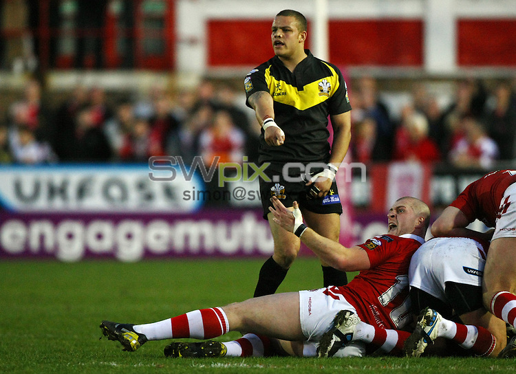PICTURE BY VAUGHN RIDLEY/SWPIX.COM...Rugby League - Super League - Salford City Reds v Crusaders RL - The Willows, Salford, England - 02/04/11...Crusaders Jordan Tansey and Salford's Adam Sidlow.