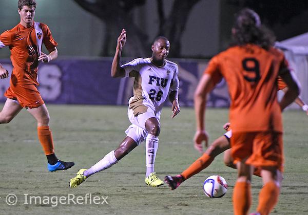 Florida International University men's soccer midfielder Donald Tomlinson (26) plays against  Princeton University. FIU won the match 2-1 on September 12, 2015 at Miami, Florida.