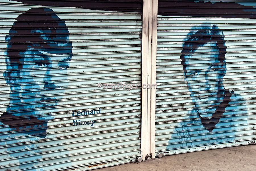 Leonard Nimoy,Captain Kirk, Hollywood's little secret, celebrity painted portrait on a Roll down Security Door that is only seen when the store is closed