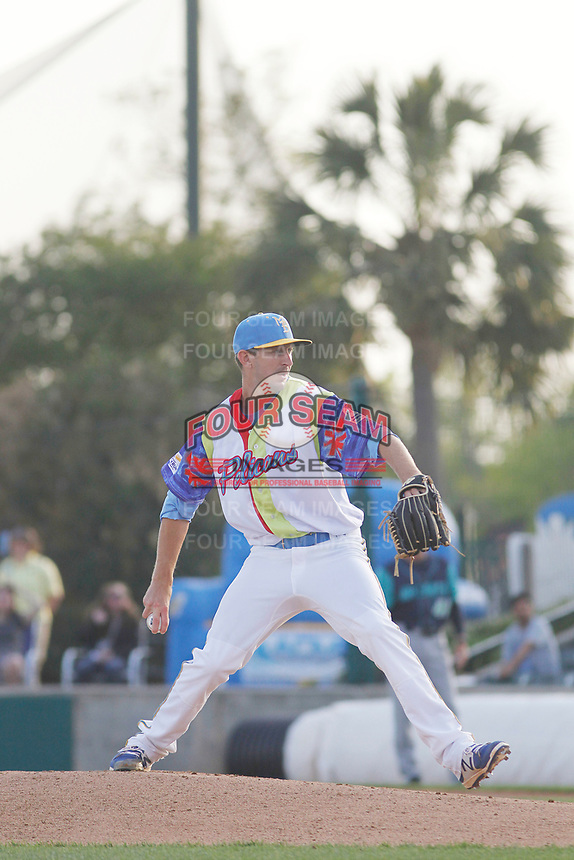 Myrtle Beach Pelicans pitcher Casey Bloomquist (44) on the mound during a game against the Lynchburg Hillcats at Ticketreturn Field at Pelicans Ballpark on April 15, 2017 in Myrtle Beach, South Carolina.  The Pelicans wore Special Olympics jerseys that night. Lynchburg defeated Myrtle Beach 5-3. (Robert Gurganus/Four Seam Images)