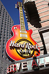 Hard Rock Cafe guitar sign outside building. Philadelphia, PA