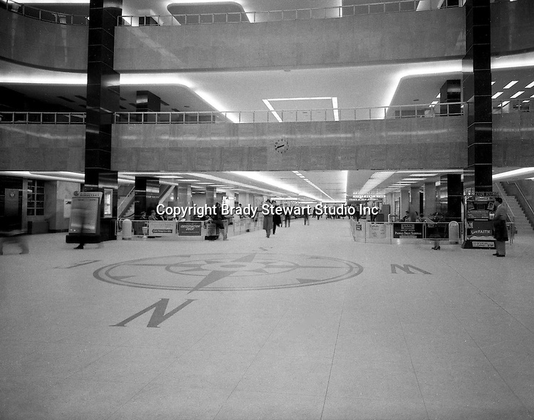 Moon Township PA:  Traveler's walking through the new Greater Pittsburgh Airport main concourse - 1954