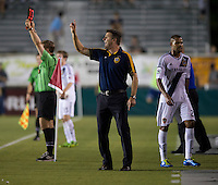LA Galaxy coach Curt Onalfo yells to his team during a third round match in the US Open Cup at WakeMed Soccer Park in Cary, NC.  The Carolina Railhawks defeated the LA Galaxy, 2-0.