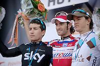 77th Flèche Wallonne 2013..podium: 1/ Daniel Moreno (ESP), 2/ Sergio Henao (COL), 3/ Carlos Betancur (COL)