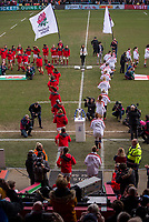 England Women and Wales Women run out at the beginning of the match<br /> <br /> Photographer Bob Bradford/CameraSport<br /> <br /> 2020 Women's Six Nations Championship - England v Wales - Saturday 7th March 2020 - The Stoop - London<br /> <br /> World Copyright © 2020 CameraSport. All rights reserved. 43 Linden Ave. Countesthorpe. Leicester. England. LE8 5PG - Tel: +44 (0) 116 277 4147 - admin@camerasport.com - www.camerasport.com