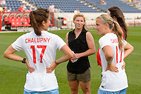 Chicago, IL - Saturday July 30, 2016: Jennifer Hoy, Lori Chalupny, Alyssa Mautz prior to a regular season National Women's Soccer League (NWSL) match between the Chicago Red Stars and FC Kansas City at Toyota Park.