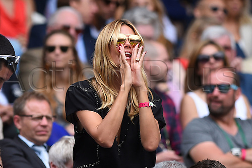 08.07.2016. All England Lawn Tennis and Croquet Club, London, England. The Wimbledon Tennis Championships Day 12. Mens' singles semi-final between number 3 seed Roger Federer (SUI) and number 6 seed, Milos Raonic (CAN). Heidi Klum in attendance
