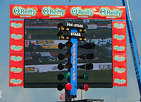 Apr. 27, 2012; Baytown, TX, USA: Detailed view of an NHRA staging light system also referred to as the Christmas Tree during qualifying for the Spring Nationals at Royal Purple Raceway. Mandatory Credit: Mark J. Rebilas-