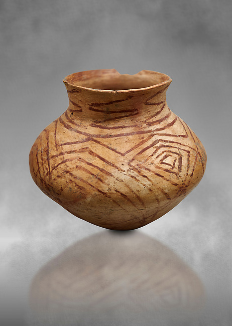 Chalcolithic decorated terra cotta pot. Circa 5000BC. Catalhoyuk collection, Konya Archaeological Museum, Turkey. Against a grey background
