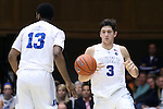 04 November 2016: Duke's Grayson Allen (3) takes the ball from teammate Matt Jones (13). The Duke University Blue Devils hosted the Augustana University Vikings at Cameron Indoor Stadium in Durham, North Carolina in a 2016-17 NCAA Division I Men's Basketball exhibition game.