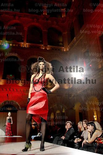 Model presents a creation by Hungarian designer Barbara Leber at Hotel Boscolo. Budapest, Hungary. Wednesday, 26. November 2008. ATTILA VOLGYI