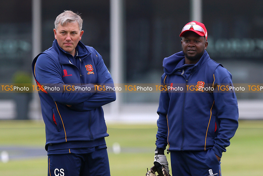 Donovan Miller (R) and Essex head coach Chris Silverwood ahead of Middlesex CCC vs Essex CCC, Specsavers County Championship Division 1 Cricket at Lord's Cricket Ground on 21st April 2017