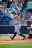 Detroit Tigers second baseman Ian Kinsler (3) hits a home run during a Spring Training game against the New York Yankees on March 2, 2016 at George M. Steinbrenner Field in Tampa, Florida.  New York defeated Detroit 10-9.  (Mike Janes/Four Seam Images)