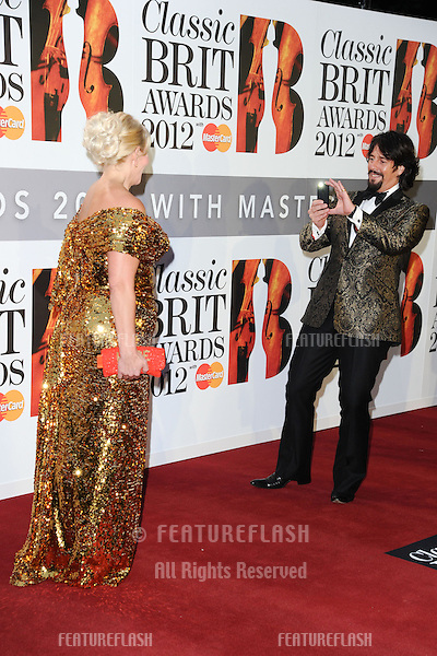 Lawrence Llewelyn Bowen and wife, Jackie arriving for the Classic Brit Awards 2012 at the Royal Albert Hall, London. 02/10/2012 Picture by: Steve Vas / Featureflash