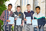 Jiri Polyak, Dale Brosnan, Jason Brennan and Tarek Miah all Killarney who sat their Leaving Cert in St Brendan's College Killarney on Wednesday