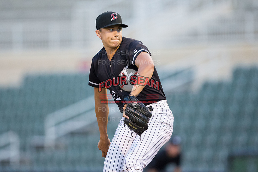 Kannapolis Intimidators relief pitcher Tyler Johnson (22) in action against the Greensboro Grasshoppers at Kannapolis Intimidators Stadium on August 13, 2017 in Kannapolis, North Carolina.  The Grasshoppers defeated the Intimidators 3-0.  (Brian Westerholt/Four Seam Images)