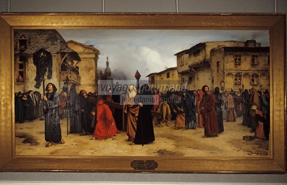 """Europe/France/Auverne/63/Puy-de-Dôme/Riom: Le musée Mandet - """"Procession pénitents noirs"""" (XIXème siècle/Brethon)"""