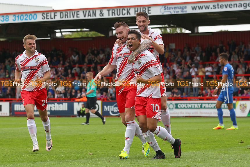 Tyler Walker of Stevenage scores the second goal for his team with an overhead kick and celebrates (R) during Stevenage vs Hartlepool United, Sky Bet EFL League 2 Football at the Lamex Stadium on 3rd September 2016