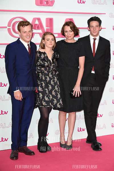 LONDON, UK. November 24, 2016: Callum Woodhouse, Daisy Waterstone, Keeley Hawes &amp; Josh O'Connor at the 2016 ITV Gala at the London Palladium Theatre, London.<br /> Picture: Steve Vas/Featureflash/SilverHub 0208 004 5359/ 07711 972644 Editors@silverhubmedia.com