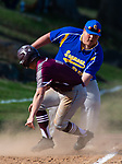 SEYMOUR,  CT-041019JS09-  Naugatuck's Mike Patton (7) gets tagged out at third base by Seymour's Austin Verab (99) after aver running the bag during their game Wednesday at French Memorial Park in Seymour. <br /> Jim Shannon Republican American