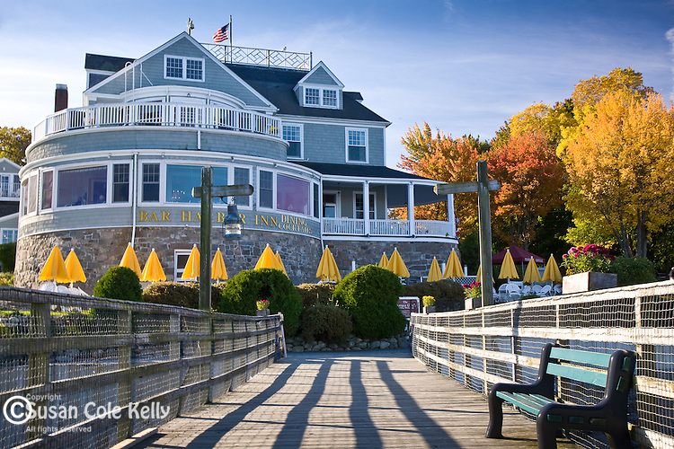 Fall foliage at the Bar Harbor Inn,  Bar Harbor, ME, USA
