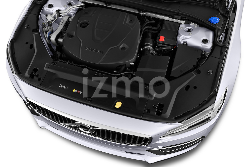Car Stock 2017 Volvo S90 Inscription 4 Door Sedan Engine  high angle detail view