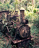 PANAMA, Cana, an old gold mine steam engine has become part of the Darien Jungle near the Cana Field on the Colombian boarder, Darien Jungle, Central America