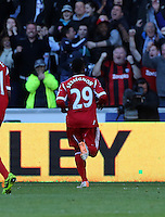 Saturday, 15 March 2014<br /> Pictured: Stephane Sessegnon of West Brom celebrating his equaliser<br /> Re: Barclay's Premier League, Swansea City FC v West Bromwich Albion at the Liberty Stadium, south Wales, UK.