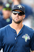 Left fielder Tim Tebow (15) of the Columbia Fireflies in a game against the Charleston RiverDogs on Friday, June 9, 2017, at Spirit Communications Park in Columbia, South Carolina. Columbia won, 3-1. (Tom Priddy/Four Seam Images)