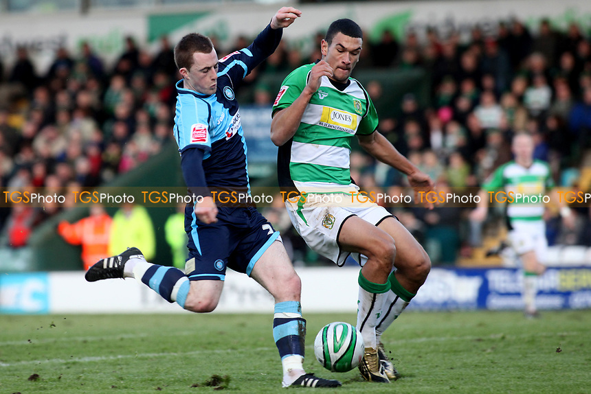 Scott Davies of Wycombe Wanderers, former Reading player and Republic of Ireland U21International takes a shot at the Yeovil goal as Steven Caulker looks on during Yeovil Town vs Wycombe Wanderers, Coca Cola League Division One Football at Huish Park on 26th December 2009