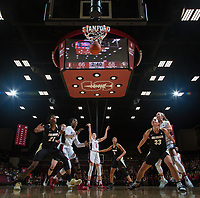 Stanford, CA - January 24, 2020: Ashten Prechtel, Nadia Fingall, Lexie Hull at Maples Pavilion. The Stanford Cardinal defeated the Colorado Buffaloes in overtime, 76-68.