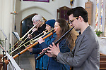 10/04/2016 The South West Early Winds Weekend takes place in Frome, bringing together amateur musicians from all over the country and abroad with an interest in 16th Century music.<br /> <br /> Participants rehearse in Christ Church, Frome, Somerset, UK, before an evening concert opens to the public.<br /> <br /> Photo © Tim Gander 2016. All rights reserved. Image licensed exclusively to South West Early Winds Weekend.