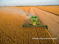 63801-09311 Soybean Harvest, John Deere combine harvesting soybeans - aerial - Marion Co. IL
