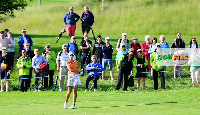 Meghan MacLaren on the 15th during the Saturday afternoon fourballs at the 2016 Curtis cup from Dun Laoghaire Golf Club, Ballyman Rd, Enniskerry, Co. Wicklow, Ireland. 11/06/2016.<br /> Picture Fran Caffrey / Golffile.ie<br /> <br /> All photo usage must carry mandatory copyright credit (&copy; Golffile | Fran Caffrey)