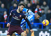 9th February 2019, The John Smith's Stadium, Huddersfield, England; EPL Premier League football, Huddersfield versus Arsenal; Sead Kolasinac of Arsenal competes for the ball with Christopher Schindler of Huddersfield Town