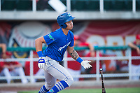 Ogden Raptors third baseman Marcus Chiu (13) starts down the first base line during a Pioneer League game against the Orem Owlz at Home of the OWLZ on August 24, 2018 in Orem, Utah. The Ogden Raptors defeated the Orem Owlz by a score of 13-5. (Zachary Lucy/Four Seam Images)