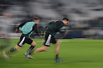 Cristiano Ronaldo and Aaron Ramsey of Juventus pictured during the warm up before the UEFA Champions League match at Juventus Stadium, Turin. Picture date: 26th November 2019. Picture credit should read: Jonathan Moscrop/Sportimage