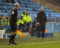 11th January 2020; Academy Stadium, Manchester, Lancashire, England; The FAs Women's Super League, Manchester City Women versus Everton Women; Nick Cushing manager of Manchester City Women is unhappy with the linesman when a decision fails to go City's way - Editorial Use