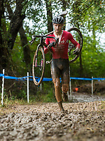 NWA Democrat-Gazette/BEN GOFF @NWABENGOFF<br /> Nick Carter of KCCX Elite Cyclocross competes in the UCI Junior Men race Sunday, Oct. 6, 2019, during the the Fayettecross cyclocross races at Centennial Park at Millsap Mountain in Fayetteville. Carter places third in the race.